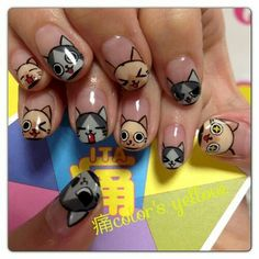 20 Amazing nail art designs inspired by games we play Indian nail art games - Nail Art Nail Art Cute, Kawaii Nail Art, Cat Nail Art, Animal Nail Art, Cat Nails, Kawaii Cat, Coffin Nails, Cat Nail Designs, Manicure Nail Designs