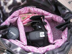 Camera Purse - DSLR and lense in two pockets, purse stuff in the other