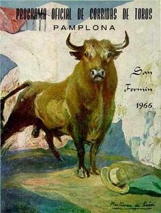 Cartel San Fermín 1966 por Andrés Martínez de León San Fermin Pamplona, Bullen, Poster Ads, Travel Posters, Vintage Posters, Animals And Pets, Places To See, Beast, Moose Art