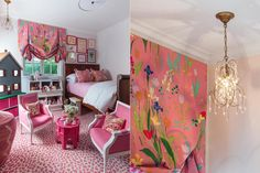 Portfolio – Courtney B Smith Design (Girl's Room: Custom Balloon Shades in Brunschwig and Fils Guermantes Pink, ABC Carpet and Home Petite Chandelier, Vintage Bed, Tea Party Chairs via One Kings Lane, Bedding via Biscuit Home, Serena and Lily Oversized Basket, Land of Nod Toy Boxes)