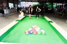 Yard Billiards Pool Table Made With Soccer Balls Sunken Buckets - Life size pool table