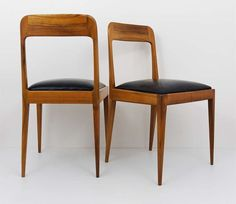 Pair Carl Aubock Modernist Chairs a 7 Walnut with Black Leather Upholstery | From a unique collection of antique and modern chairs at https://www.1stdibs.com/furniture/seating/chairs/