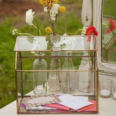 Glass Terrarium for Wedding Card Box - 19 Wedding Gift Card Box Ideas. See more at http://blog.myweddingreceptionideas.com/2016/01/19-wedding-gift-card-box-ideas.html