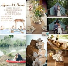 Let's Go Camping Wedding Theme - Ideas and Inspiration - Brenda's Wedding Blog - wedding blogs with stylish wedding inspiration boards - unique real weddings - wedding vendors www.brendasweddingblog.com invite from www.lassodmoon.com