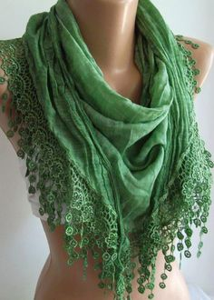 Green  / Elegance  Shawl / Scarf with Lacy Edge-------soft and light-