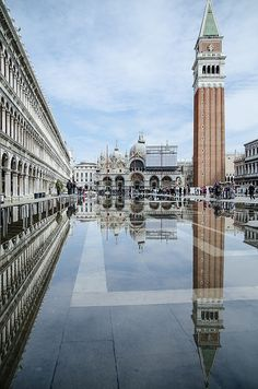 Basilica di San Marco and Campanile di San Marco, Piazza San Marco, Venice, Italy