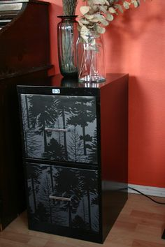 Wallpapered file cabinet.