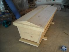 Homemade Top Bar Bee Hive with Lid On