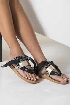 Slides Leather Sandals with Paisley Bandana Ties, Alexandra