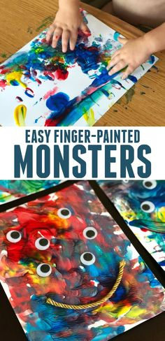 Simple Finger-painted Monsters for Toddlers inspired by Go Away Big Green Monster by Ed Emberley
