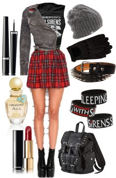 """Tartan Skirts and Band Merch"" by hollysaysboo ❤ liked on Polyvore"