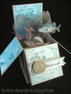 Kirsten Stempelkiste (birthday card pop up layout) Fun Fold Cards, 3d Cards, Folded Cards, Stampin Up Cards, Card In A Box, Pop Up Box Cards, Card Boxes, Boite Explosive, Libros Pop-up