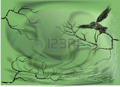 raven crow: abstract crow on a dry tree
