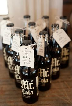 """Keep your guests refreshed with """"Mr. Colas"""" topped with fun hand-tied notes 