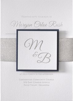 Luxurious layers come together to form one of the most beautiful wedding invitations we offer! A silver glitter belly band wraps around the white textured invitation and is finished with a coordinating white textured tag featuring your choice of backer color. All wording is stamped in shimmering silver foil. This invitation is dressed to impress!