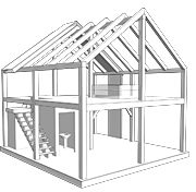 x Timber Frame with SIPs (Bungalow in a Box: Sample Plans) Box Houses, Small Houses, Tiny House Cabin, Roof Panels, Roofing Systems, Small House Plans, Kit Homes, Second Floor, Bungalow
