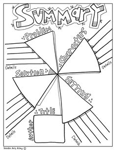 Fun printable, coloring Graphic Organizers at Classroom Doodles from Doodle Art Alley. Reading Strategies, Reading Skills, Reading Comprehension, Guided Reading, Comprehension Strategies, Reading Groups, Teaching Language Arts, Teaching Writing, Writing Activities