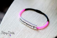 Hand Stamped Name Plate Bracelet  Silicone by StampBlanks on Etsy, $12.00