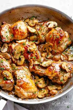 Golden seared chicken thighs in a delicious, buttery garlic mushroom sauce with a sprinkle of herbs is THE weeknight dinner everyone raves about! Serve over rice, pasta, mashed potatoes OR lower carb options like mashed cauliflower or zucchini noodles! Garlic Mushroom Sauce, Garlic Butter Mushrooms, Mushroom Chicken, Garlic Chicken, Baked Chicken, Mushrooms Recipes, Roasted Mushrooms, Oven Chicken, Mushroom Risotto