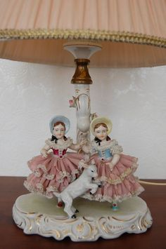 Lovely Antique German Dresden Lace Porcelain Girls Table Lamp Figurine