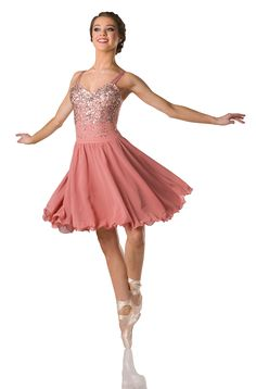 Leotard With Attached Skirt: Dusty rose engineered sequin mesh, dusty rose spandex, and dusty rose chiffon ; Trim: Filament pearl edge and adjustable straps ; Modern Contemporary Dance, Contemporary Dance Costumes, Dance Recital Costumes, Ballet Costumes, Lyrical Dance, Dance Leotards, Dance Outfits, Cute Outfits, Ballerina Costume