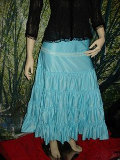 blue hippy skirt  layers of thick heavy skirt and a lace band  feel like a princess in this.  size M   41cm waist  81cm long  as new  $10.00