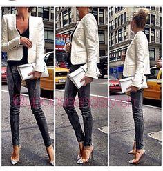 Up close and Stylish - Balmain Blazer - Jbrand Jeans - Louboutin Heels and Hermes clutch