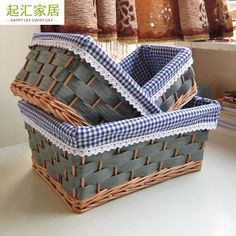 Baskets On Wall, Storage Baskets, Wicker Baskets, Basket Willow, Basket Decoration, Rattan, Gingham, Decoupage, Diy And Crafts