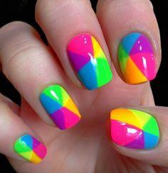 Uñas nails, neon nails y neon nail art. Rainbow Nail Art, Neon Nail Art, Neon Nails, Love Nails, Diy Nails, How To Do Nails, Pretty Nails, Neon Rainbow, Manicure Ideas