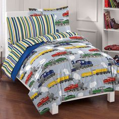 kidsu0027 comforter sets dream factory trains ultra soft microfiber boys comforter set blue full check out this great product