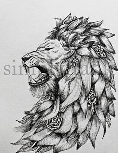 this article is not available - Fierce lion by simplyfrank on Etsy Plus - Head Tattoos, Love Tattoos, Body Art Tattoos, Wing Tattoos, Lion Tattoo Design, Tattoo Designs, Tattoo Sketches, Tattoo Drawings, Tattoo Video