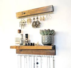 Jewelry organizer with shelf Earrings display wall mounted necklace