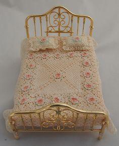 Fine Dollhouse Miniature Victorian Bedspread Set Crochet Pink Roses Artisan   eBay