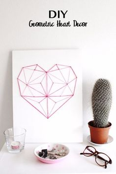 DIY String Art Projects - DIY Geometric String Heart - Cool, Fun and Easy Letters, Patterns and Wall Art Tutorials for String Art - How to Make Names, Words, Hearts and State Art for Room Decor and DIY Gifts - fun Crafts and DIY Ideas for Teens and Adults