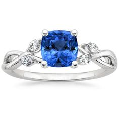 Blue Sapphire Willow Engagement Ring - 18K White Gold