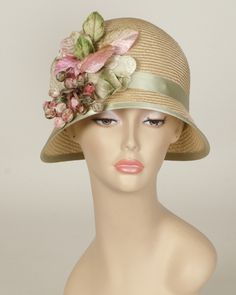Minnie, desert sand with leaf green, parisisal hat with vintage velvet berries and leaves
