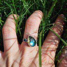 Labradoriet 925 Sterling Zilveren Ring / EU 56 / Chiq / Edelsteen / Handgemaakt…