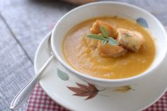 Roasted Butternut Squash Soup with Parmesan Sage Croutons