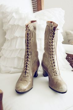 VintageVictorian ShoesAntique Boots by blondiensc on Etsy, via Etsy.  I feel certain these would never fit my ante-Victorian feet. But I want them!