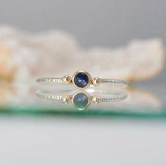 rose cut sapphire stacking ring mixed metal stone ring