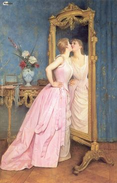 "Art painting ~ Mirror portrait ~ France ~ Elegant art history ""Vanity' ~ Academic Art ~ Circa By Auguste Toulmouche Renaissance Kunst, Renaissance Paintings, Renaissance Fashion, Classic Paintings, Beautiful Paintings, Romantic Paintings, Victorian Art, Classical Art, French Art"