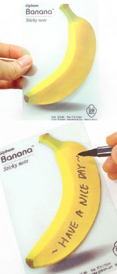 The Banana Sticky Note is a sticky note that looks like a real banana! It's a fun way to leave a message to yourself or your colleagues! Cute Office Supplies, School Supplies, Phone Messages, Kawaii Stationery, Party Drinks, Scrapbook Supplies, Sticky Notes, Filofax, Wonderful Things