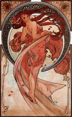 Dance, 1898, lithography, art nouveau, Alphonse Mucha.