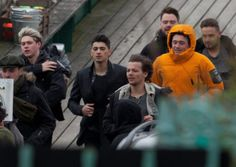 Members of the band One Direction filming a new music video on Clevedon Pier in Clevedon, Avon. 24th March 2014. Photo: SWNS.com