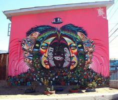 """Schizo Muneco Polaco"" Mural by Shalak, Smoky, Nt1, Asem. Cerro Polanco, Valparaiso, Chile. Feb 2012"