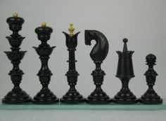 Reproduction Antique Chess Set Ebony Wood Pieces Repro. http://www.chessbazaar.com/chess-pieces/wooden-chess-pieces/reproduction-antique-chess-set-ebony-wood-pieces-repro.html