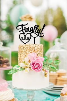 Finally Wedding Cake Topper Cake Topper by ThePinkOwlDesigns