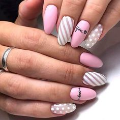 Almond-shaped nails Dotted nails Fashion nails 2020 Manicure by summer dress Nail art stripes Nails with inscriptions Original nails Pink manicure ideas French Tip Acrylic Nails, Best Acrylic Nails, French Nails, Cute Summer Nail Designs, Best Nail Art Designs, Nail Art Stripes, Striped Nails, Pink Stripes, Pink Manicure