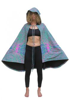 356f8421511a Hooded Cape   Acid DragonflyPrinted cape with Pixie Hood.UV Active  !Drawstring fastening. Space Tribe