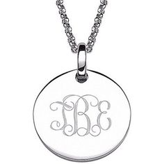 """Personalized Women's Sterling Silver Petite Engraved Monogram Pendant, 20"""""""